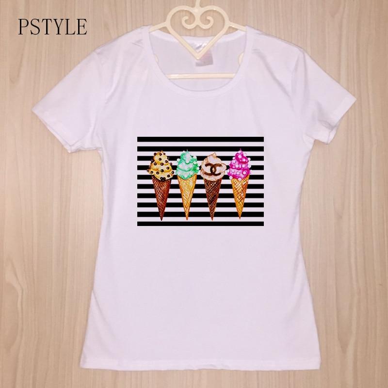 Women   T     Shirt   White Women's Tee   Shirt   Delicious Ice Cream Printing Femal   T  -  shirt   Vintage Graphic Design Basic Camisetas Mujer
