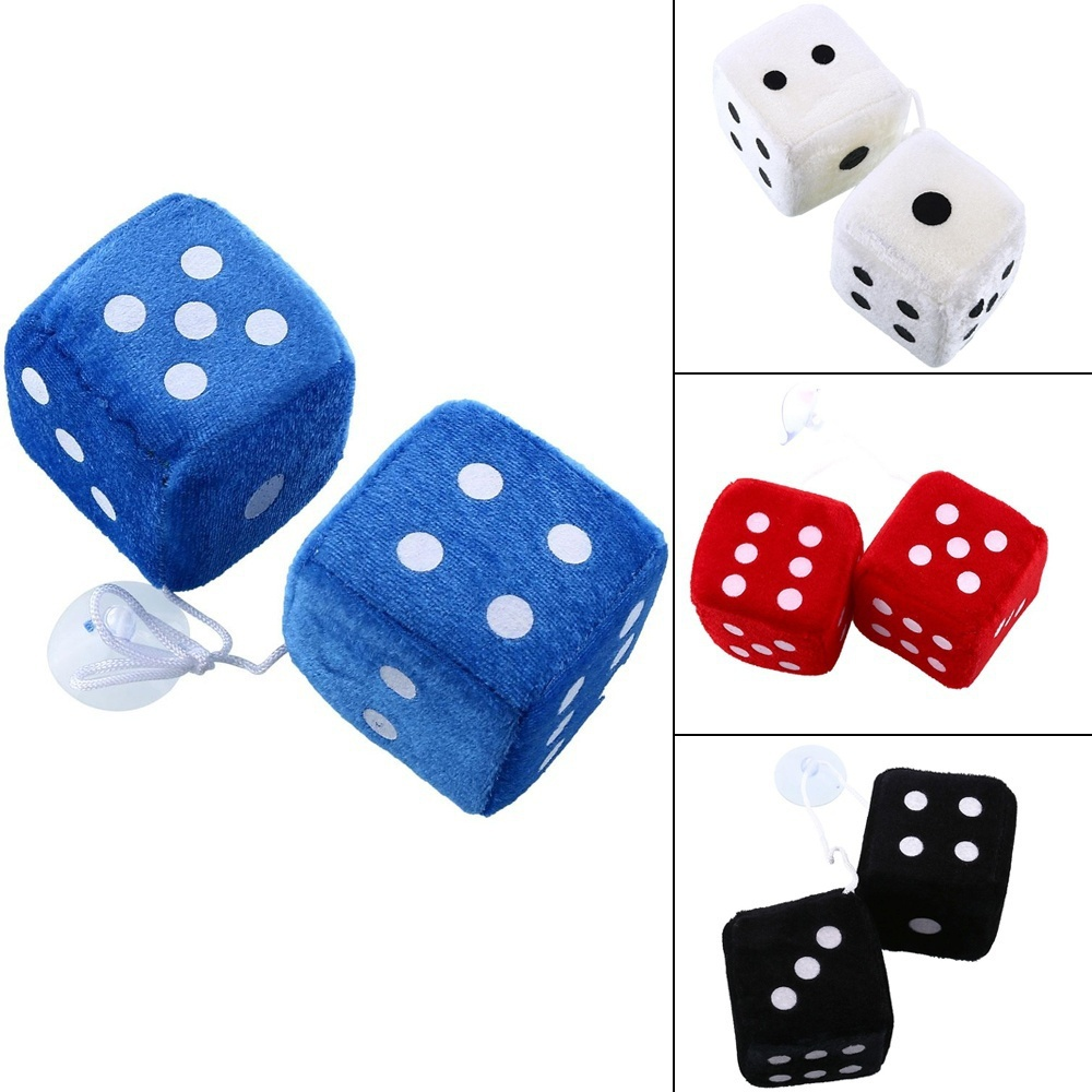 1 Pair Cute Fuzzy Dice Toy Car Mirror Hanging String Dots Pendant Car Interior Ornament 4 Colors Styling Car Auto Accessories