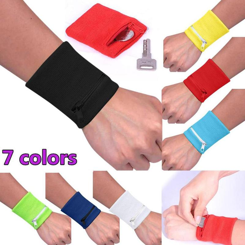 Zipper Wrist Wallet Pouch Band Zipper Running Travel Gym Cycling Safe Key Card Sport Bag Cotton Storage 7 Colors To Choose