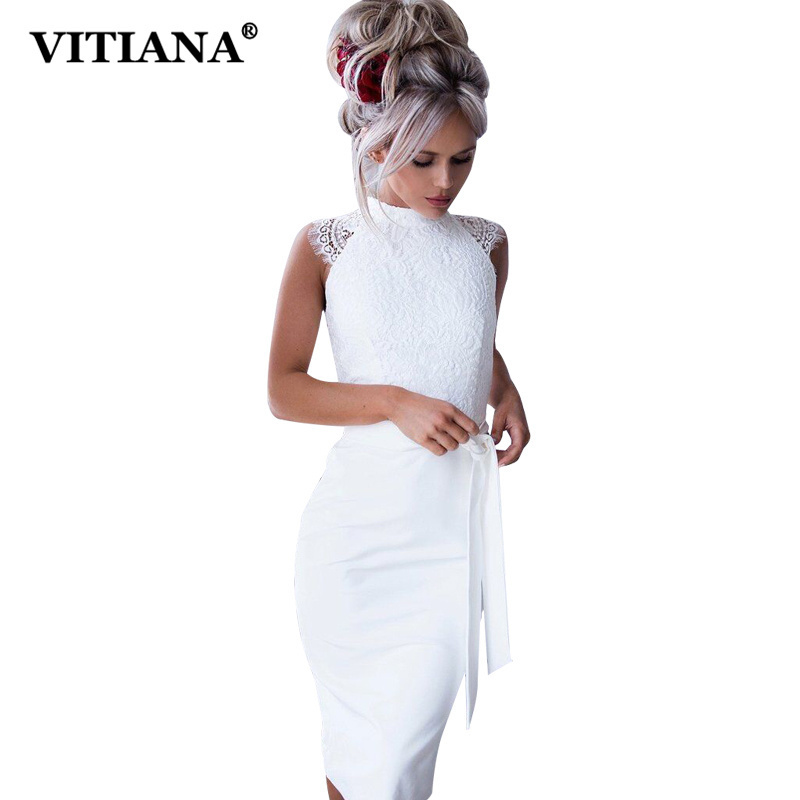 VITIANA Women Sexy Lace Midi Party Dress Female 2018 Summer Sleeveless White Knee-Length Bodycon Slim Elegant Club Casual Dress