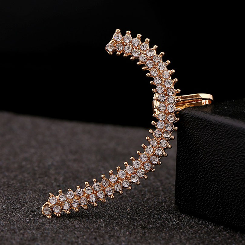 Rhinestone Ear Cuff Clip Crystal Fashion Jewelry Gift For Women Punk Earrings