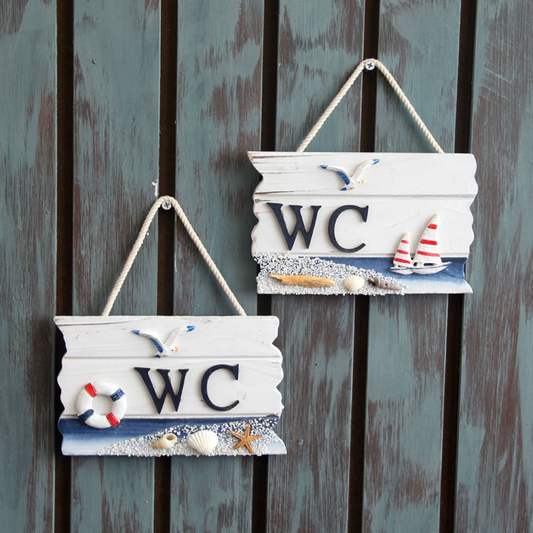 Mediterranean style Nautical Home decor WC pine Wood boards for sale anchor decoration Crafts Wooden