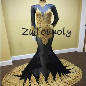 e04dc663bfe2 Real Photos Black And Gold Evening Dress African Mermaid Plus Size Black  Girls Prom Dresses High