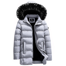 Fashion Winter Jackets Men Hooded Coat Fur Collar Long Trench Men Velvet Windbreaker Casual Outwear Thick Warm Men Parkas