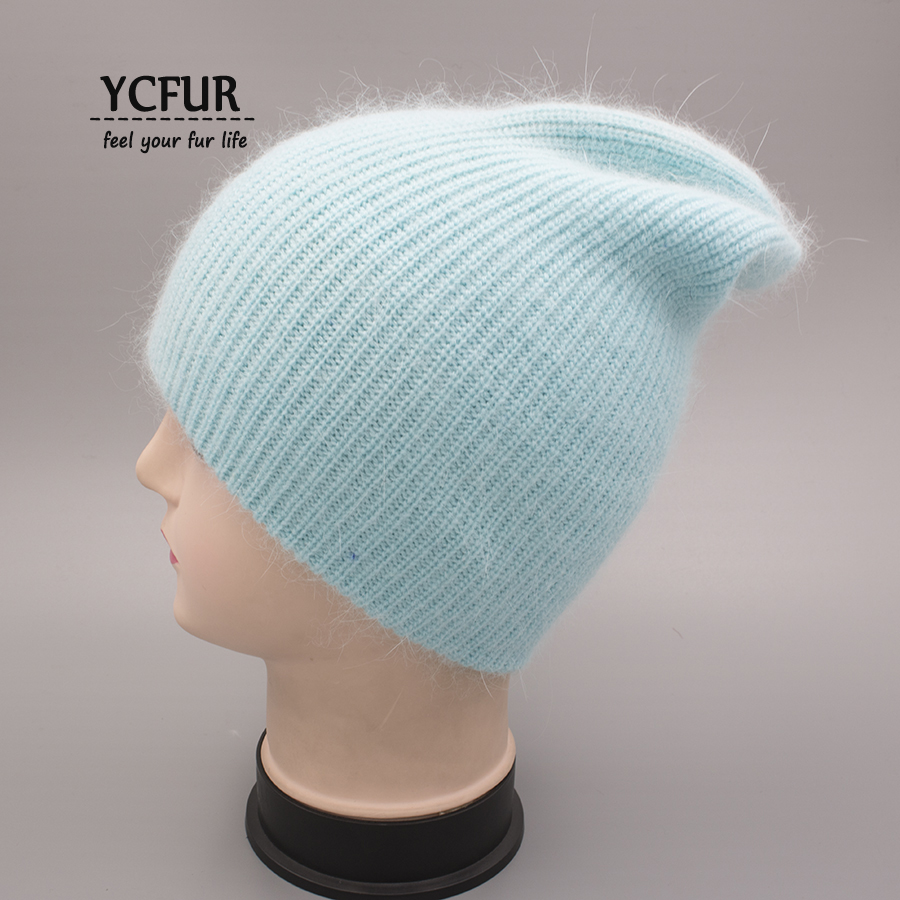 YCFUR Women Winter Autumn Hat Cap Female Knit Wool Beanies Caps For Women Angora Rabbit Hair Casual Hats Skullies For Girls wool felt cowboy hat stetson black 50cm