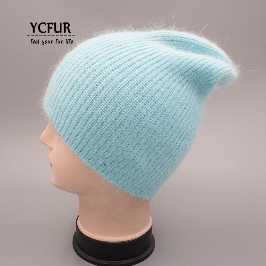 YCFUR Women Winter Autumn Hat Cap Female Knit Wool   Beanies   Caps For Women Angora Rabbit Hair Casual Hats   Skullies   For Girls