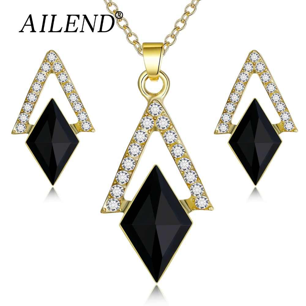 fashion geometric crystal jewelry sets for women charms triangle rhombus crystal pendant necklaces party earrings Party gifts