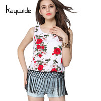 Kaywide Summer Sexy Hot T Shirt Women ROSES Print Casual T Shirt Ladies Cropped Tassel Sleeveless