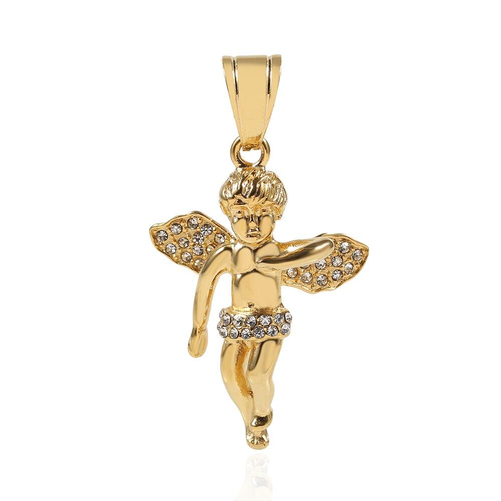 TL pequeño ángel sueño estrella colgante collar Vintage Color plata cadena collar en corazón joyería clásico cristal cabujón collar
