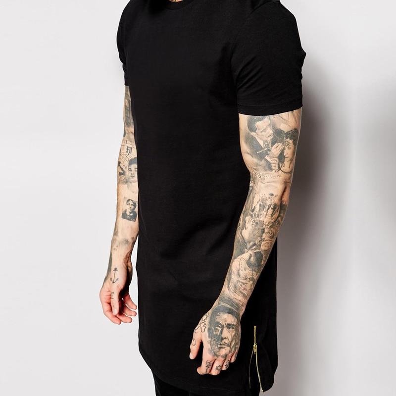 T-shirt bărbați lungime negru negru mens topuri t-shirt tricou - Imbracaminte barbati - Fotografie 4