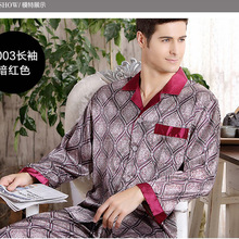 Купить с кэшбэком Spring summer autumn luxury  men's silk pajamas long sleeve sleepwear twinset thin plus size clothing loungewear L XL XXL XXXL
