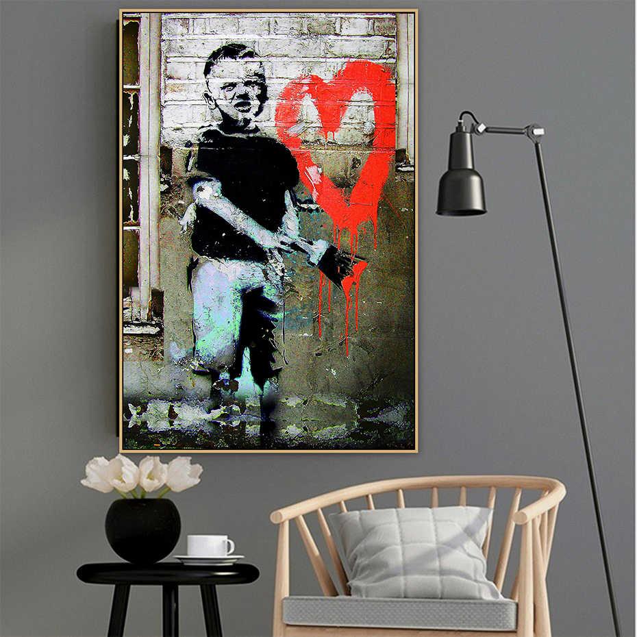 Бэнкси Boyheart граффити стрит-Арт холст плакаты с живописью и репродукции, настенное искусство картина для Гостиная домашний декор