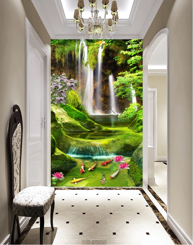 3d room wallpaper custom mural non-woven Wall sticker Mountain waterfall lotus carp porch paintings photo wallpaper for walls 3d 3d room wallpaper custom mural non woven wall sticker 3 d scenery suspension bridge porch paintings photo wallpaper for walls 3d