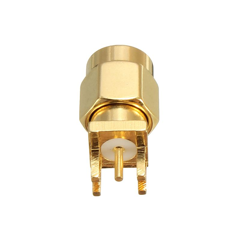 10Pcs Gold Tone SMA Male Plug Solder Edge PCB Clip Mount RF Connectors Adapter For Wireless Module 200 pcs red gold tone soldering breadboard pcb test pin replacements