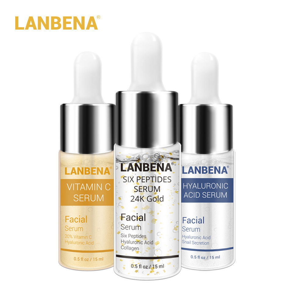 LANBENA Vitamin C +Six Peptides Serum 24K Gold+Hyaluronic Acid Serum Anti Aging Wrinkle Moisturizing Whitening Skin Care