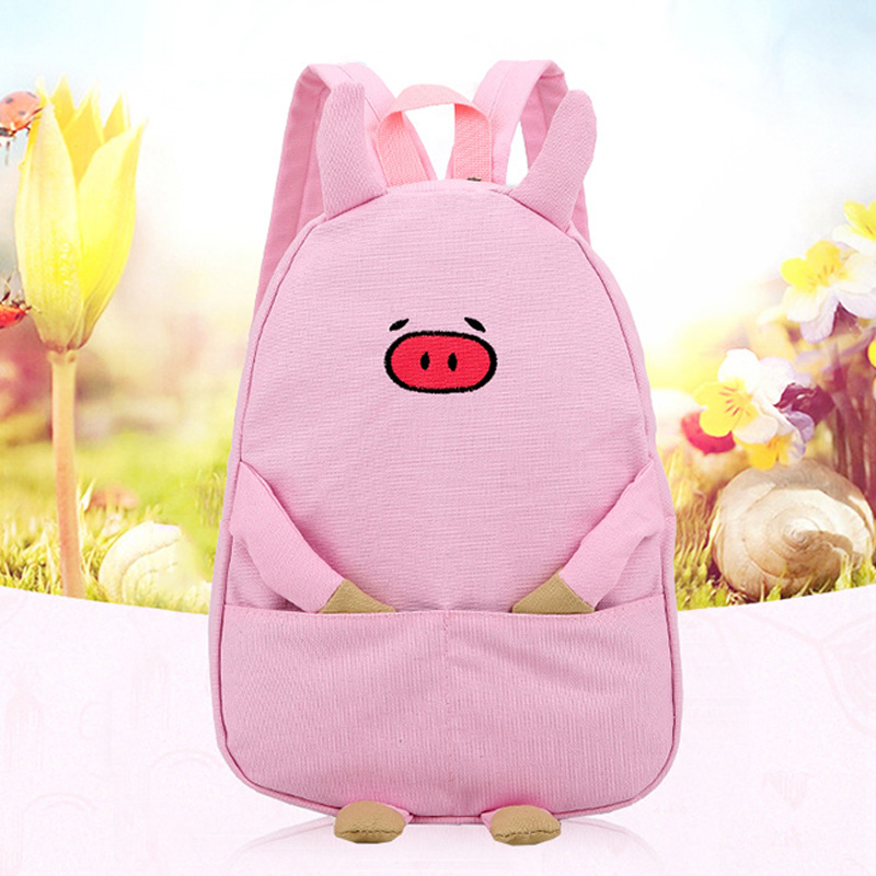 New Style 1pc Women Men Adorable Cartoon Piggy Canvas Schoolbags Casual Backpack