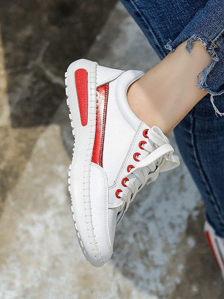 Cuero Nuevo La Pequeño Otoño Versión Sho Casual Zapato Blanco Femenino Coreana blanco Salvaje Moda Solo Primavera Corbata 2018 De Y Inferior Negro rrnE6Wxq