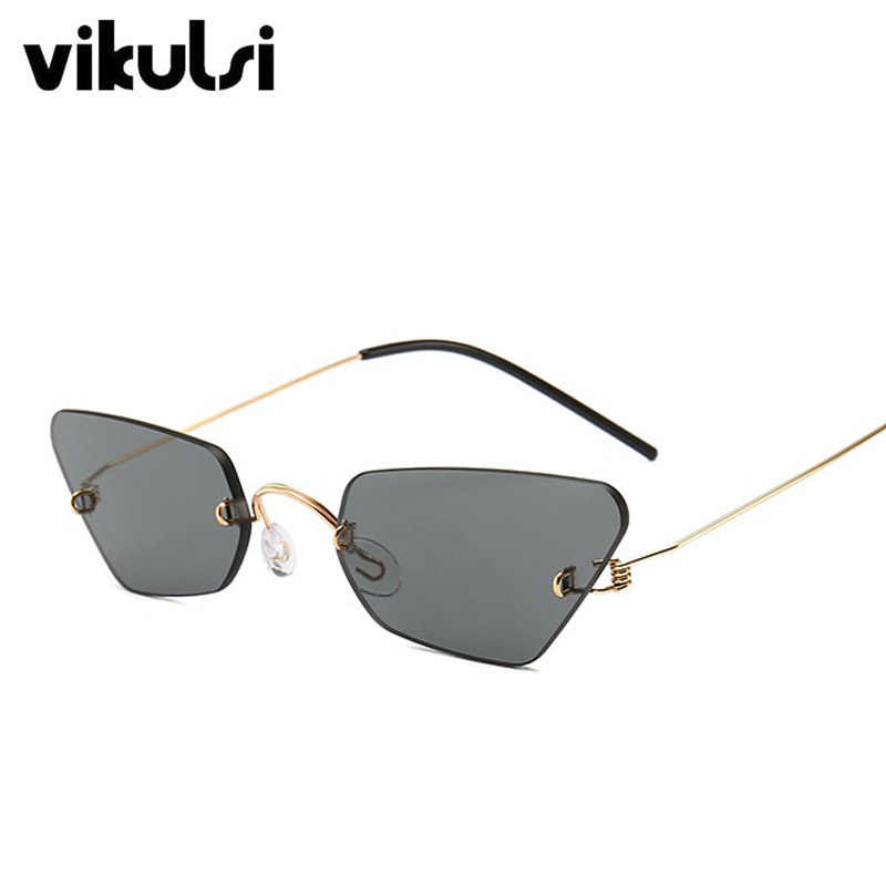 ec8d6cf425 ... Ultralight Women Small Rimless Cat Eye Sunglasses Popular Men Clear  Purple Blue Red Fashion Sun Glasses