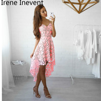 Irene Inevent Women Floral Lace Dresses Short Sleeve Party Casual Color Blue Red Black White Mini