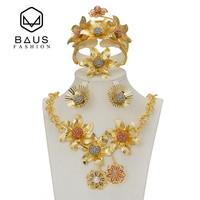 Dubai Gold Color New Fashion Jewelry Nigeria African Bead Flower Accessories Jewellery Set Wedding Anniversary Party