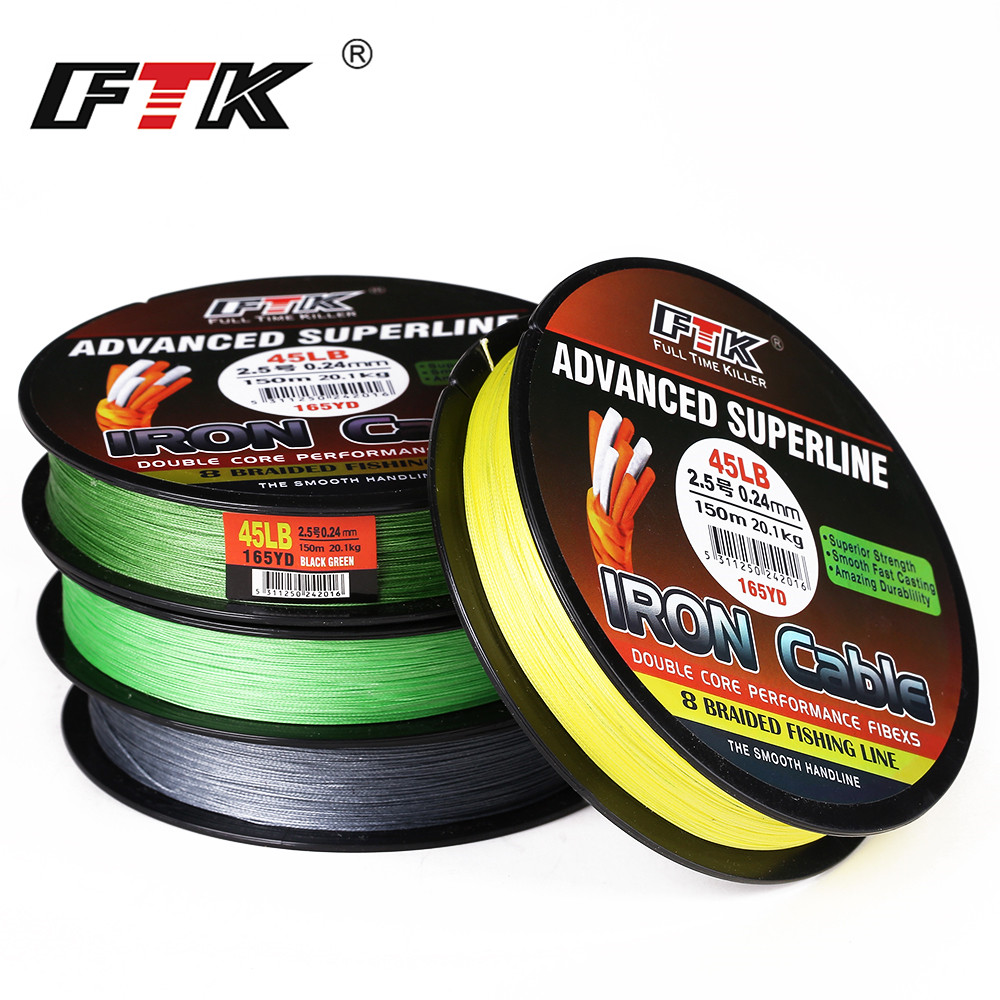 FTK Fishing Line 8 Braided Wire 300m 1.0-6.0# Code 23-85LB 4 Colors Braided Fishing Line Super Abrasion Resistance Fishing Lines