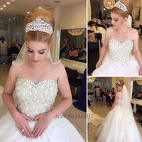 Princess Luxury Wedding Dresses Pearls Rhinestones Ball Gown Wedding Gowns Mariage Bridal Dress 2017 Vestidos de Noiva de Luxo