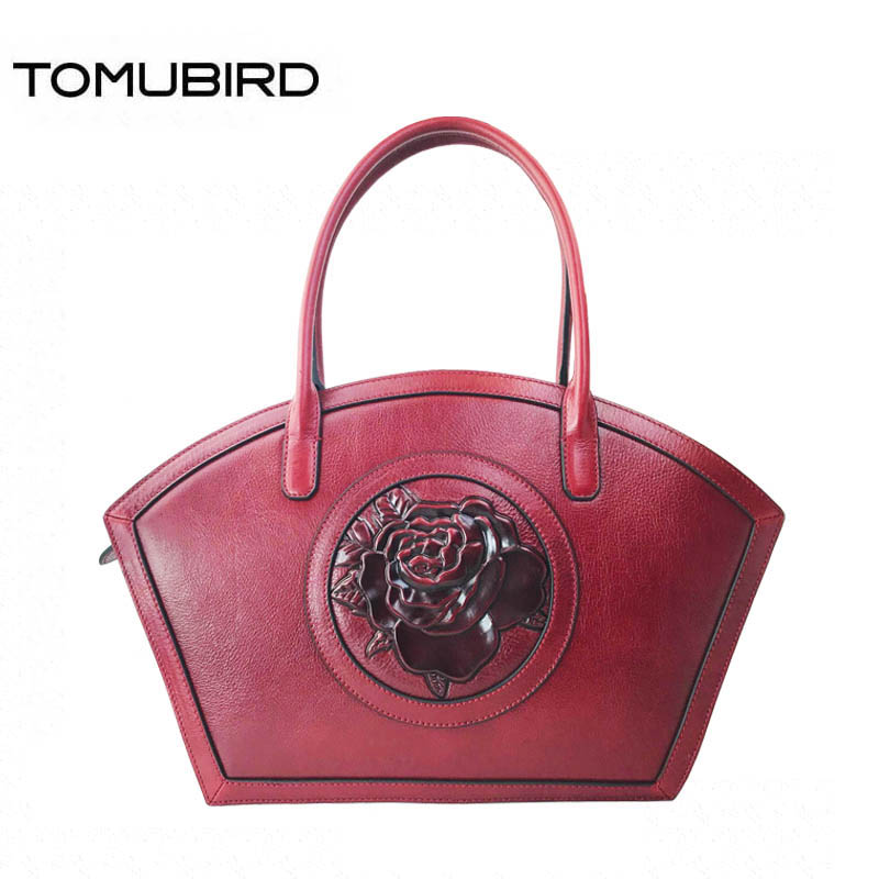 TOMUBIRD new superior cowhide leather luxury Hand painted flowers handbags women bags designer handbags genuine leather bag 2018 new superior cowhide leather classic designer hand embossing top leather tote women handbags genuine leather bag medium bag