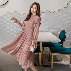 Элегантный воротник-стойка Цветочный принт женское платье длинный рукав эластичная тонкая талия шифон весной трапециевидной формы