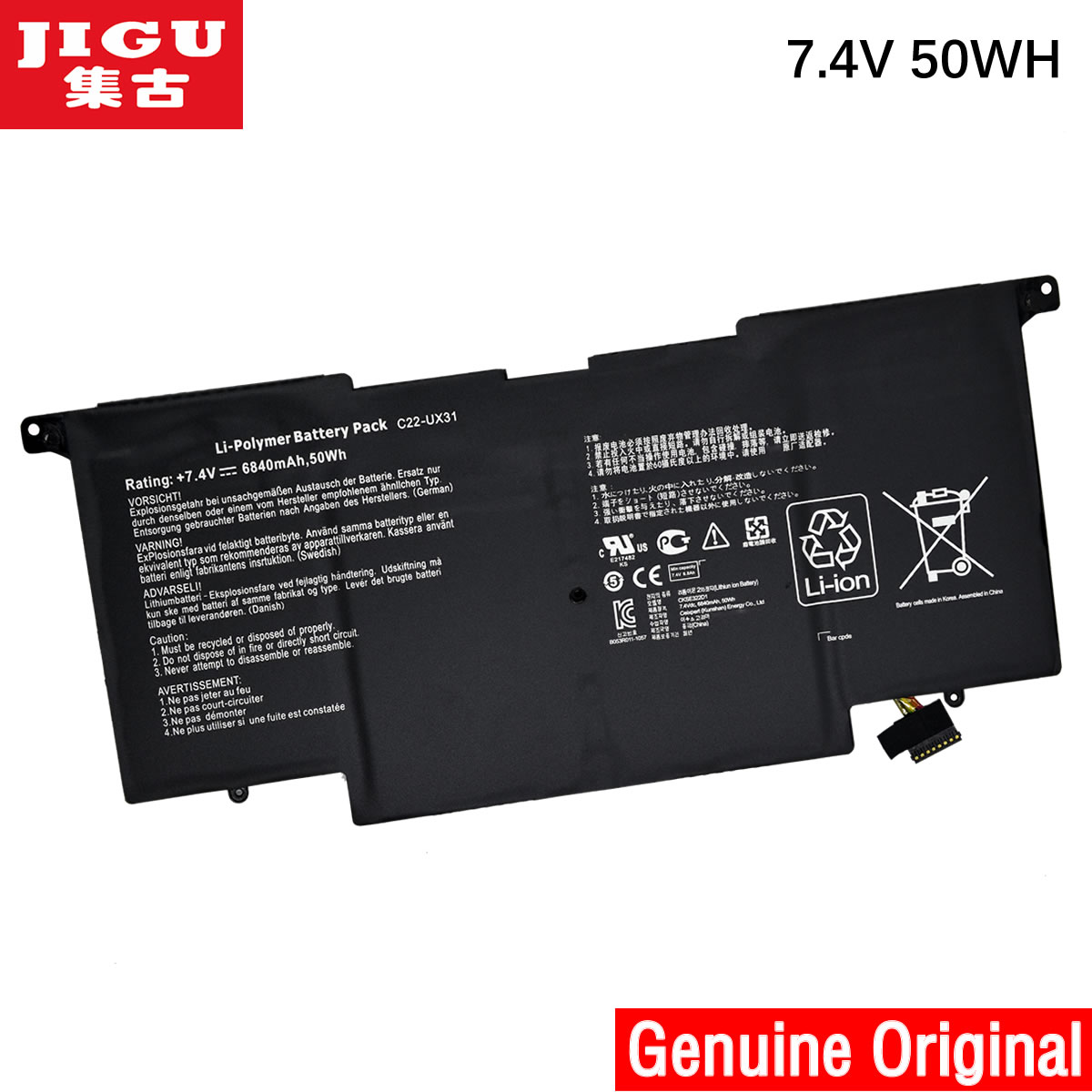 все цены на JIGU C22-UX31 C23-UX31 Original laptop Battery For Asus Ultrabook ZENBOOK UX31 UX31A UX31E 7.4V 6840MAH 50WH онлайн