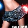 Korean style new summer sexy female ultra low waist DS dance  short mini skirt denim poling dance skirt free shipping
