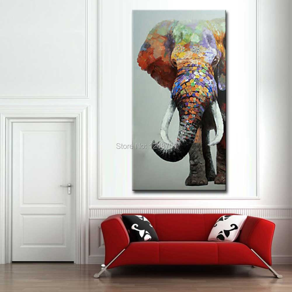Large Size Hand Painted Abstract Elephant Oil Painting on Canvas ...