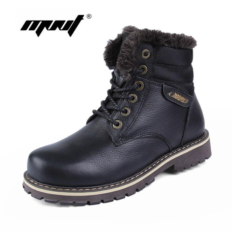 Full grain leather Men Boots Plus Size Super Warm Men Snow Boots Handmade Warm Outdoor Shoes