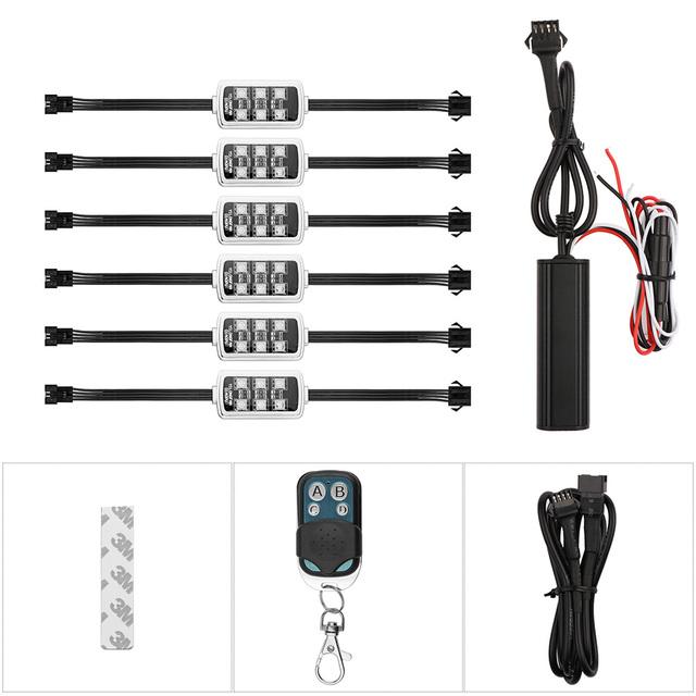 Music Control 36 LED Wireless RGB LED Car Motorcycle Light with Smart Brake Light Interior Decorative Atmosphere Strip Light Kit