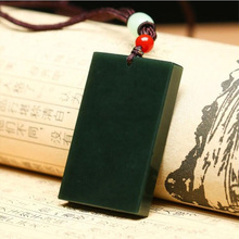 Drop shipping XinJiang HeTian Jade Pendant Necklace Peace Safety Lucky Amulet With Chain For Men Women Gift