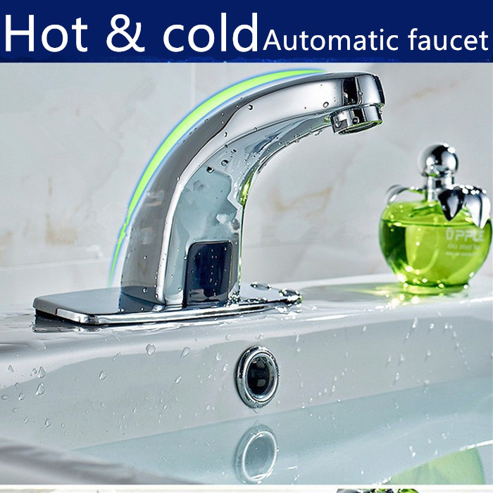 100% Brass Automatic sensor Kitchen faucet Hot and Cold Water Sense Faucets Basin Hand Washer brass automatic sensor faucets cold and hot water mixer sense faucet basin hand washer deck mounted faucet