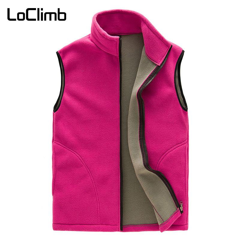 LoClimb Women's Polar Fleece Hiking Vest Women Winter Sleeveless Jacket Outdoor Trekking Ski Sports Vests Heated Waistcoat AW092