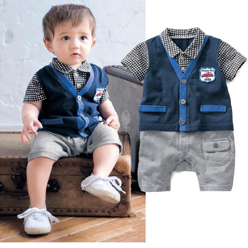 Baby Boys clothing Bebe Gentleman style infant Romper summer Short Sleeve boy Clothes Playsuit Newborn Jumpsuit newborn baby boys girls rompers infant short sleeve cotton jumpsuit clothing mama s boy printed summer clothes boy romper