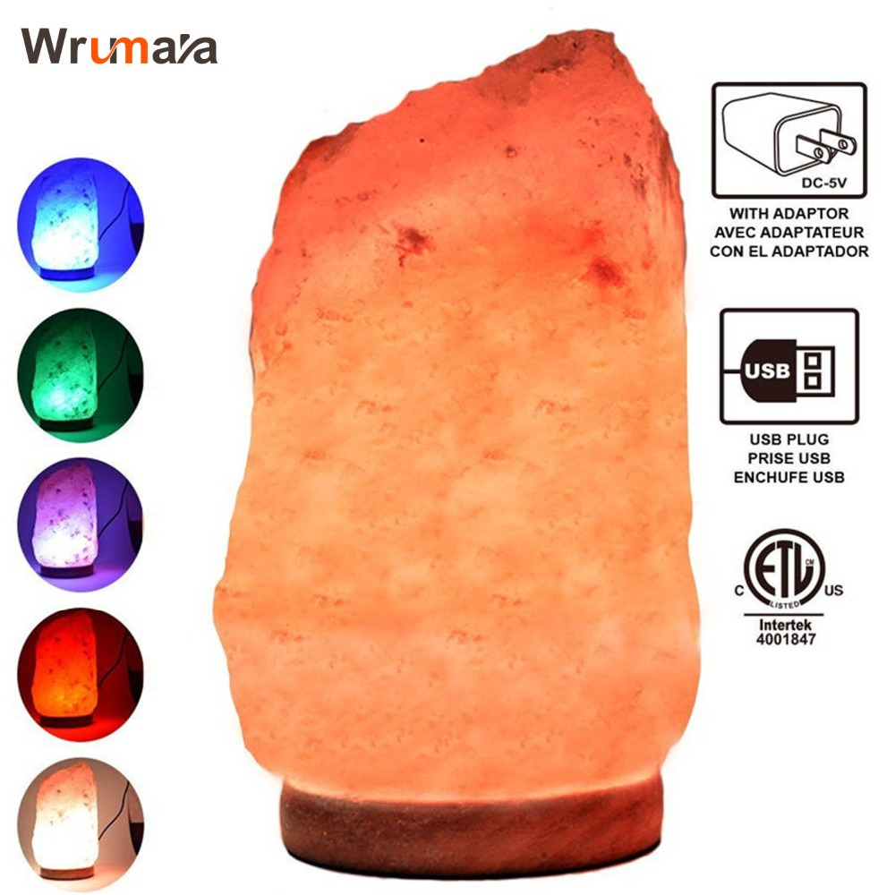 Wrumava 1-2KG Salt Lamp Natural Himalayan Crystal Night Light Dimmable Switch Wooden Base 15W Bulb for Home Bedroom Living Room oygroup mini hand carved natural crystal himalayan salt lamp night light cylinder shaped illumilite lamp salt light oy17nl02