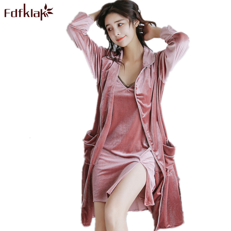 50d35f5def Fdfklak Spring Summer Sexy Gown Gold Velvet Nightgown Bathrobe Lingerie Women  Robe Set Sleepwear Women Night
