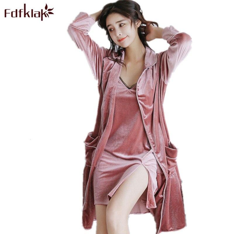 Fdfklak Spring Summer Sexy Gown Gold Velvet Nightgown Bathrobe Lingerie Women Robe Set Sleepwear Women Night Robe Long Q581
