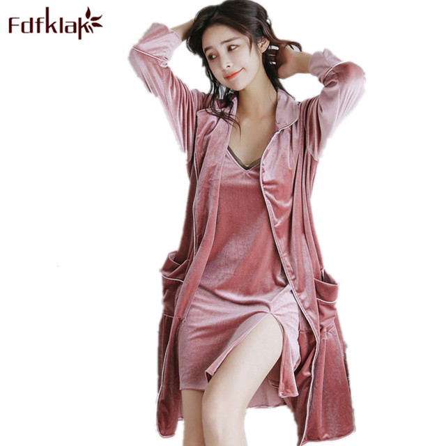1fb8b39c81 Fdfklak Spring Summer Sexy Gown Gold Velvet Nightgown Bathrobe Lingerie  Women Robe Set Sleepwear Women Night Robe Long Q581