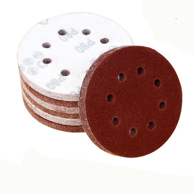 20 piezas de lija redonda de 5 pulgadas y 125mm, discos de arena de ocho huecos, lijadora de discos de lijado con gancho y bucle 40-800