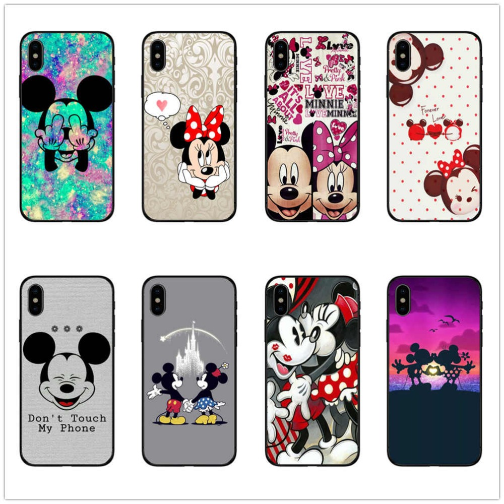Beauty <font><b>mickey</b></font> mouse love case for <font><b>iphone</b></font> x cover for <font><b>iphone</b></font> xr case 7 8 <font><b>6s</b></font> plus 6 5 5s se x xs max xr black silicone soft <font><b>coque</b></font> image