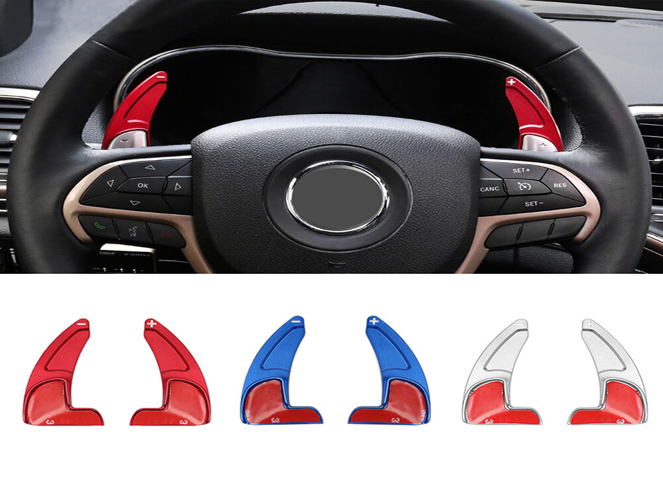 XBEEK Interior Mouldings For Jeep Grand Cherokee 2014+ Steering Wheel Shift Paddle Shifter Trim Cover For Grand Cherokee 2014+