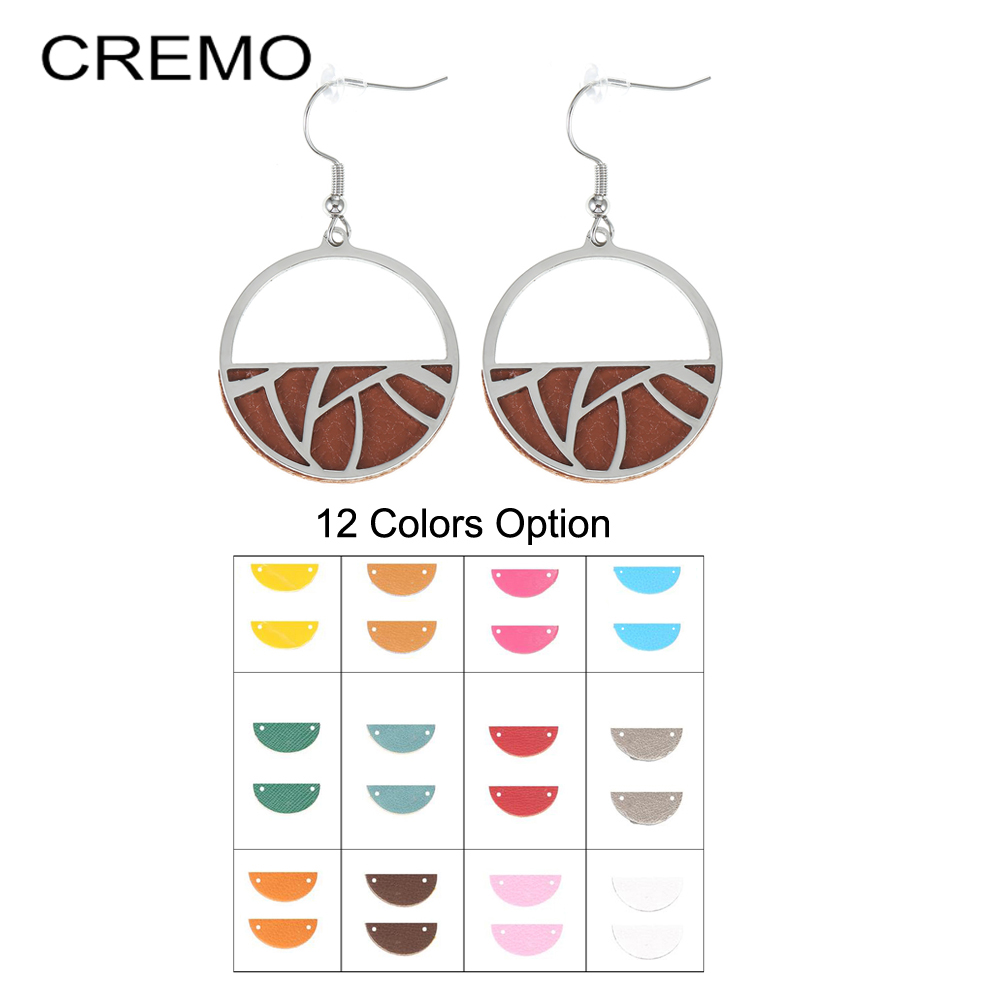 Cremo Trendy Interchangeable Leather Round Drop Earring Hanging Dangle Earrings Jewelry Stainless Geometric Earrings For Women