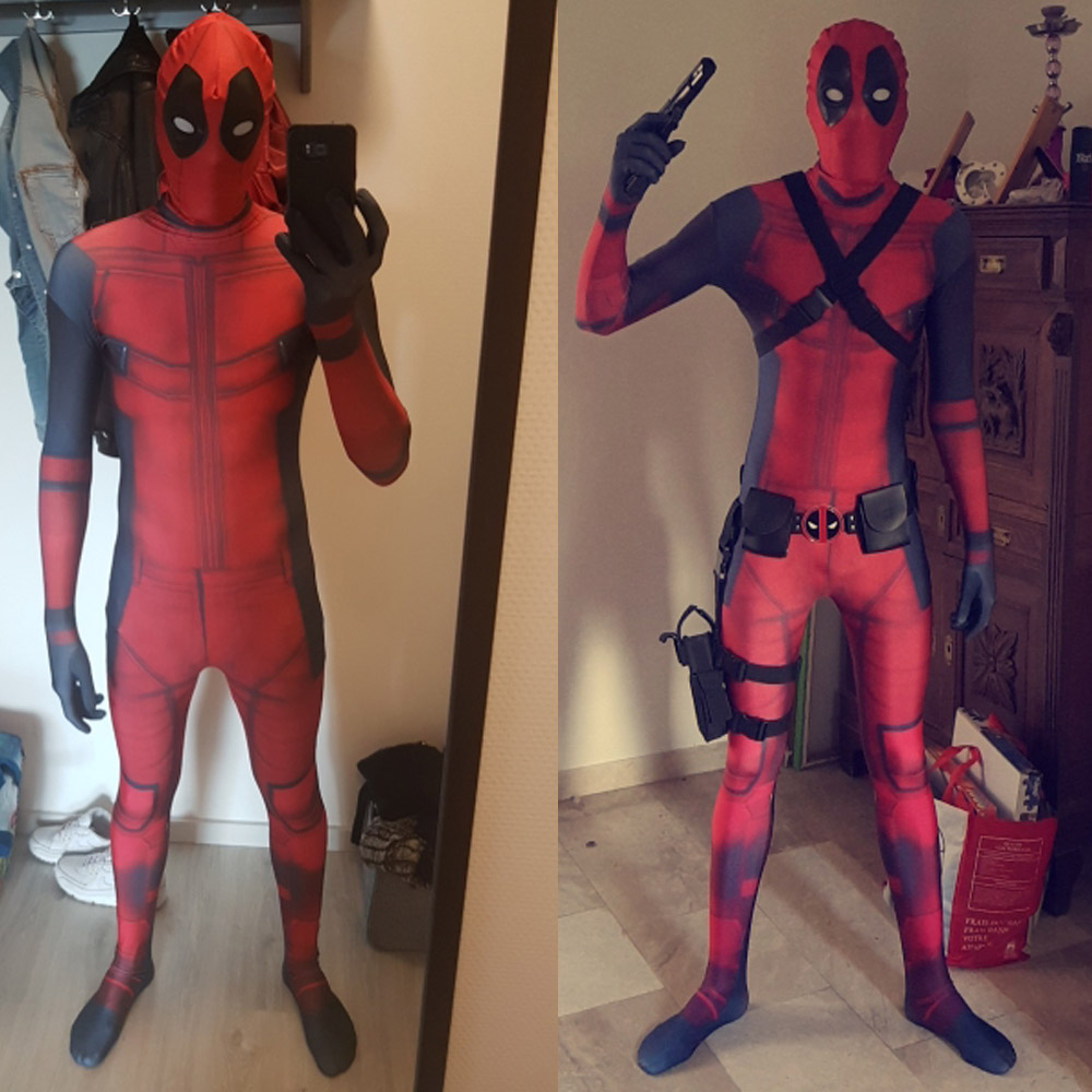 OVIGILY Marvel Deadpool Cosplay Costumes Men Superhero Dead Pool Suits for Adult and Kids Full Body Zentai Bodysuits with Mask