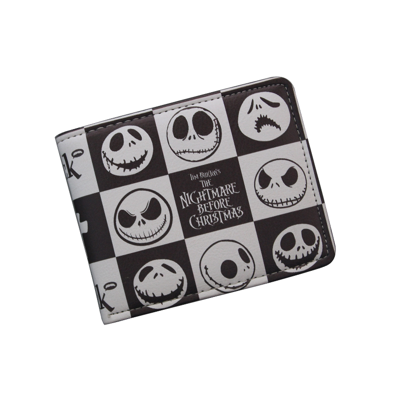 Comics THE NIGHTMARE BEFORE CHRISTMAS Wallet Women & Men's Thriller Movie Cartoon Wallet Short Skull Jack Wallet ID Card Holder long style pu wallet of the nightmare before christmas skull jack with button and multi layer