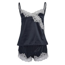 Women Sexy Sleepwear Pure Color Pajama Set Lace V-Neck Sleeveless Pyjamas Cute Polyester Shorts Babydoll Nightwear 2PC %8