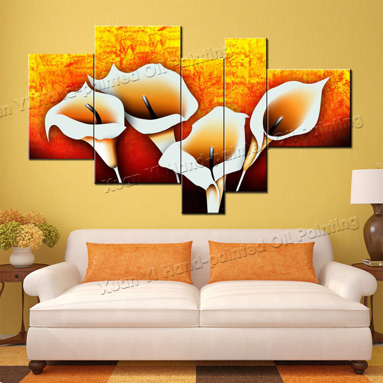 Hand Painted 5 Piece Canvas Art Yellow Flower Painting Canvas Abstract Landscape Oil Painting Decorative Wall Panels