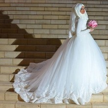 Muslim Long Sleeve White Lace Tulle Ball Gown Wedding Dress With Hijab 2016 Arabic Islamic Dubai Bride Bridal Gown casamento